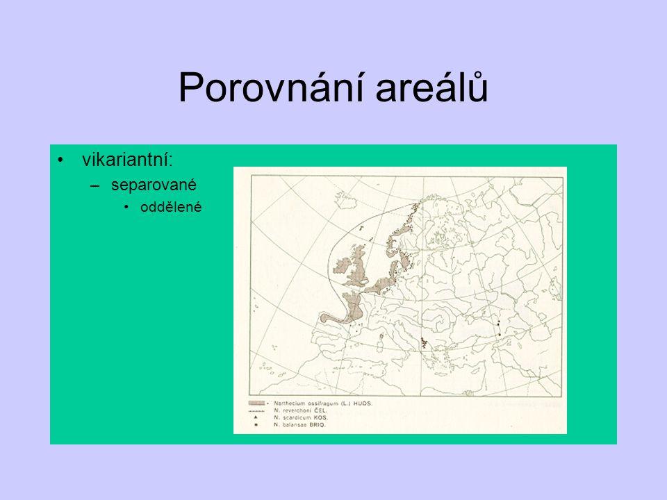 Porovnání areálů vikariantní: separované oddělené