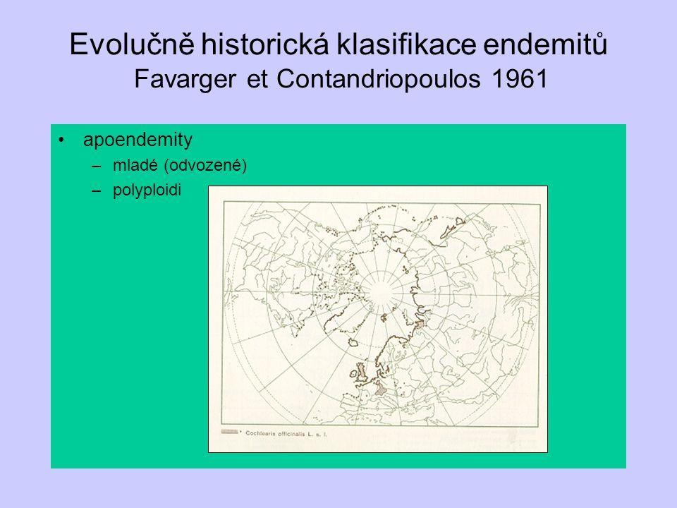 Evolučně historická klasifikace endemitů Favarger et Contandriopoulos 1961