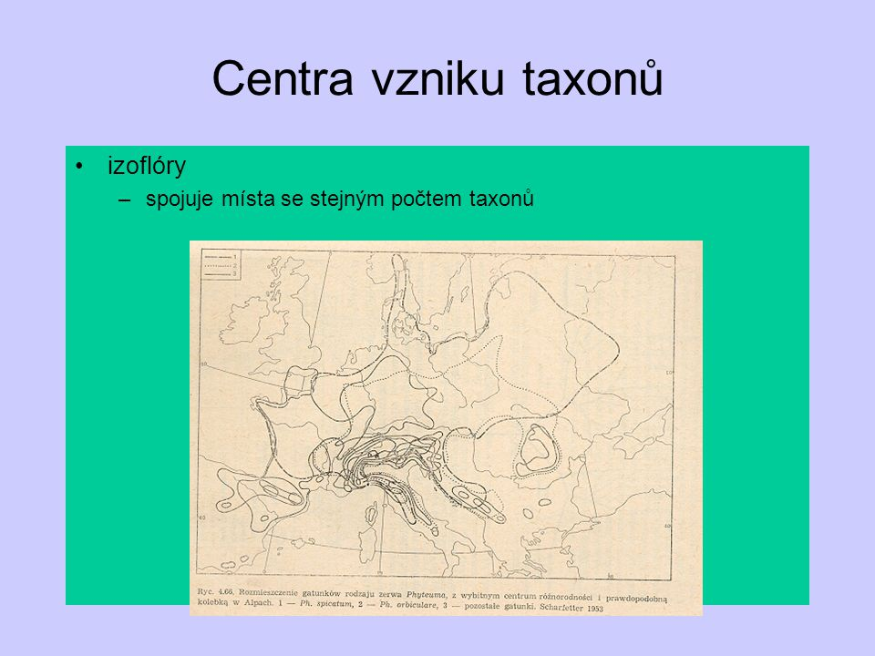 Centra vzniku taxonů izoflóry spojuje místa se stejným počtem taxonů