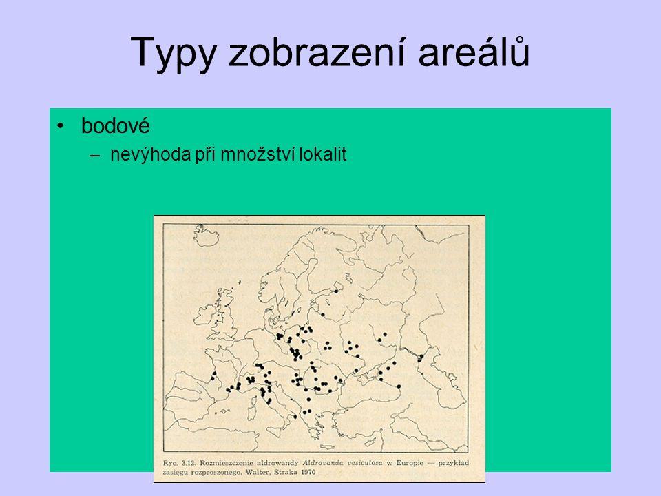 Typy zobrazení areálů bodové nevýhoda při množství lokalit