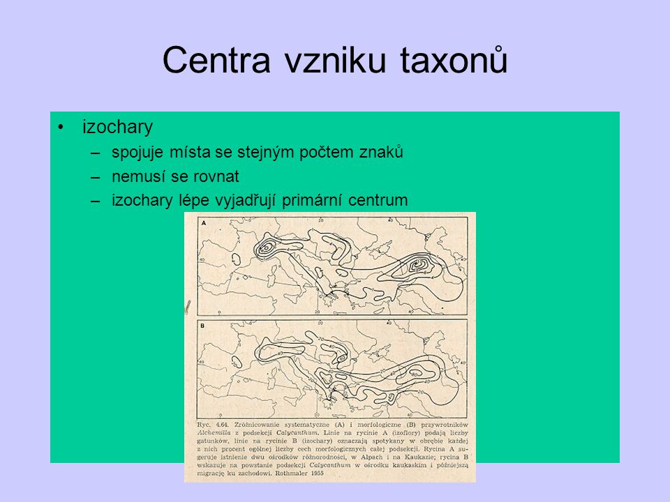 Centra vzniku taxonů izochary spojuje místa se stejným počtem znaků