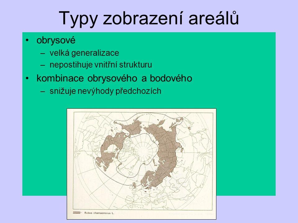 Typy zobrazení areálů obrysové kombinace obrysového a bodového