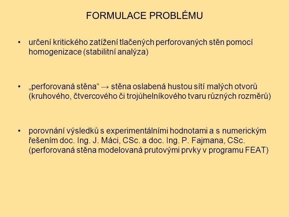 FORMULACE PROBLÉMU určení kritického zatížení tlačených perforovaných stěn pomocí homogenizace (stabilitní analýza)