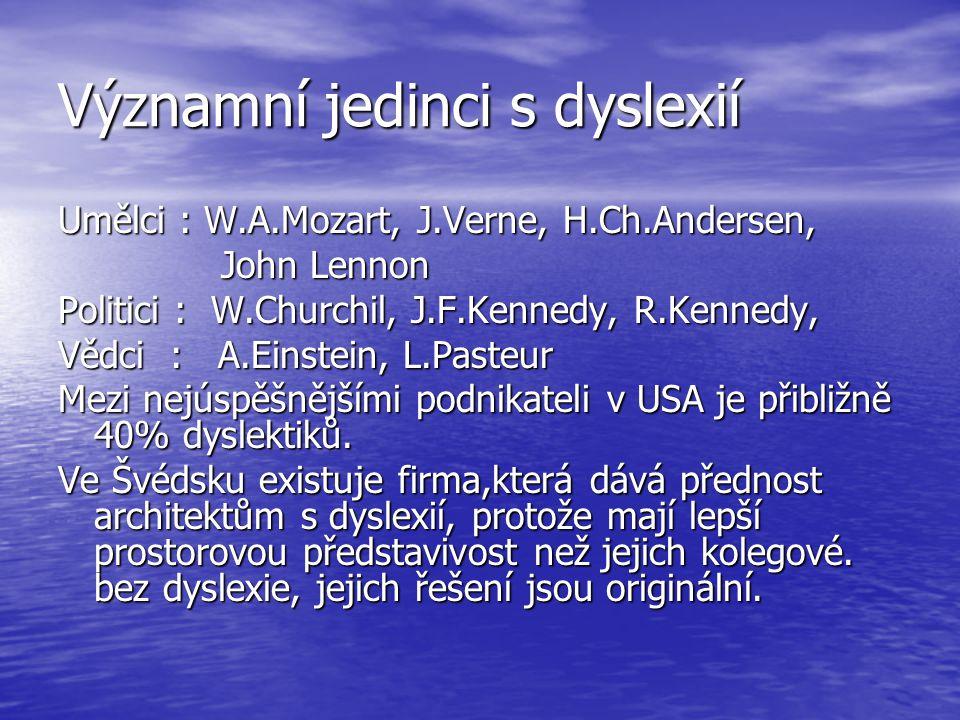 Významní jedinci s dyslexií