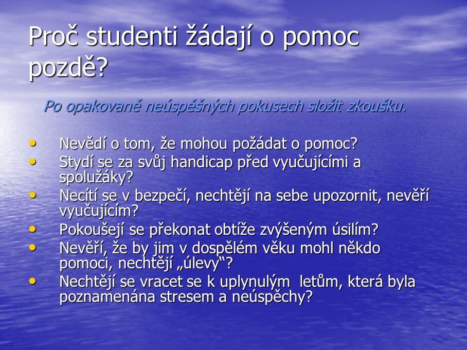 Proč studenti žádají o pomoc pozdě