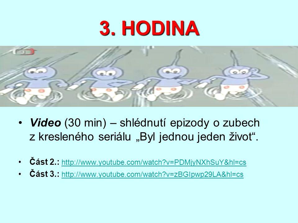"""3. HODINA Video (30 min) – shlédnutí epizody o zubech z kresleného seriálu """"Byl jednou jeden život ."""