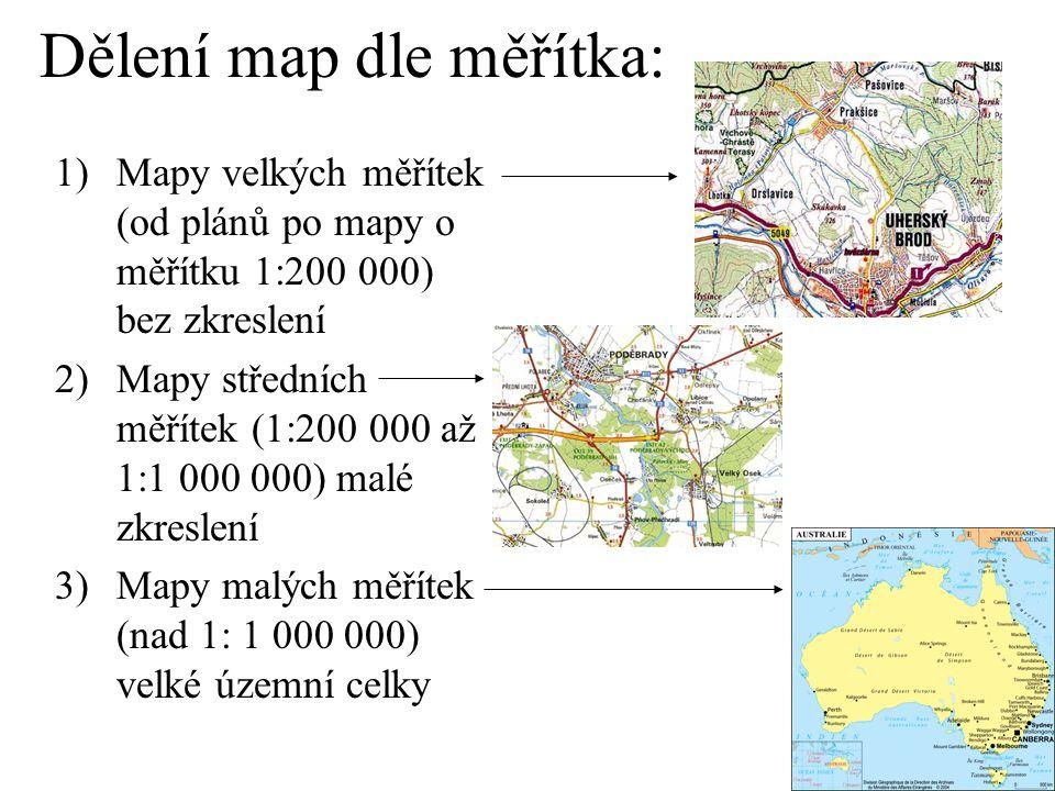 Dělení map dle měřítka: