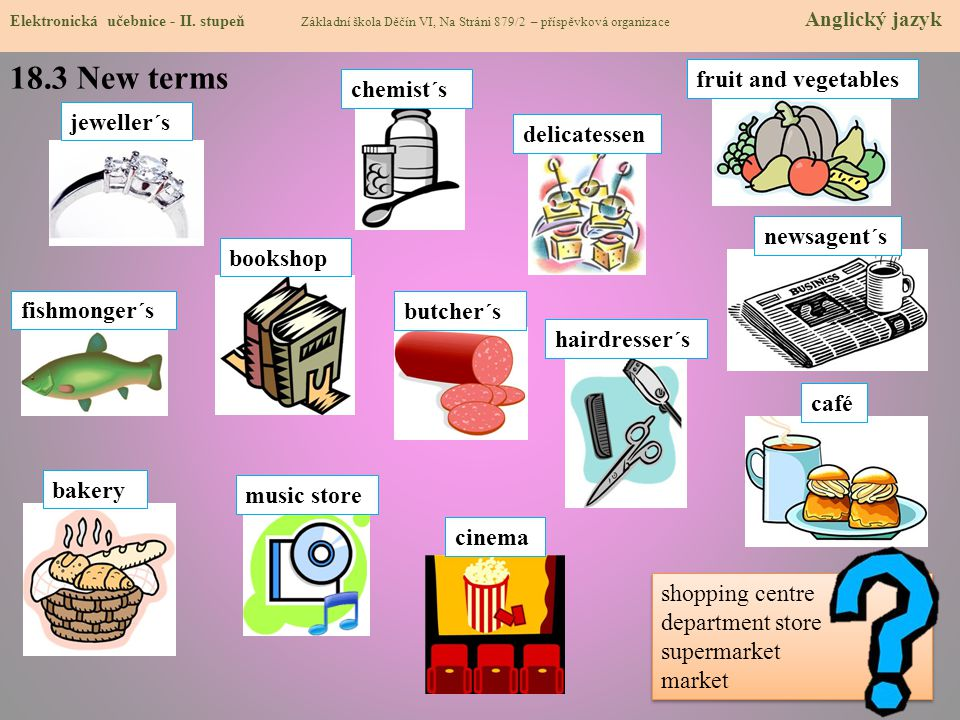 18.3 New terms fruit and vegetables chemist´s jeweller´s delicatessen