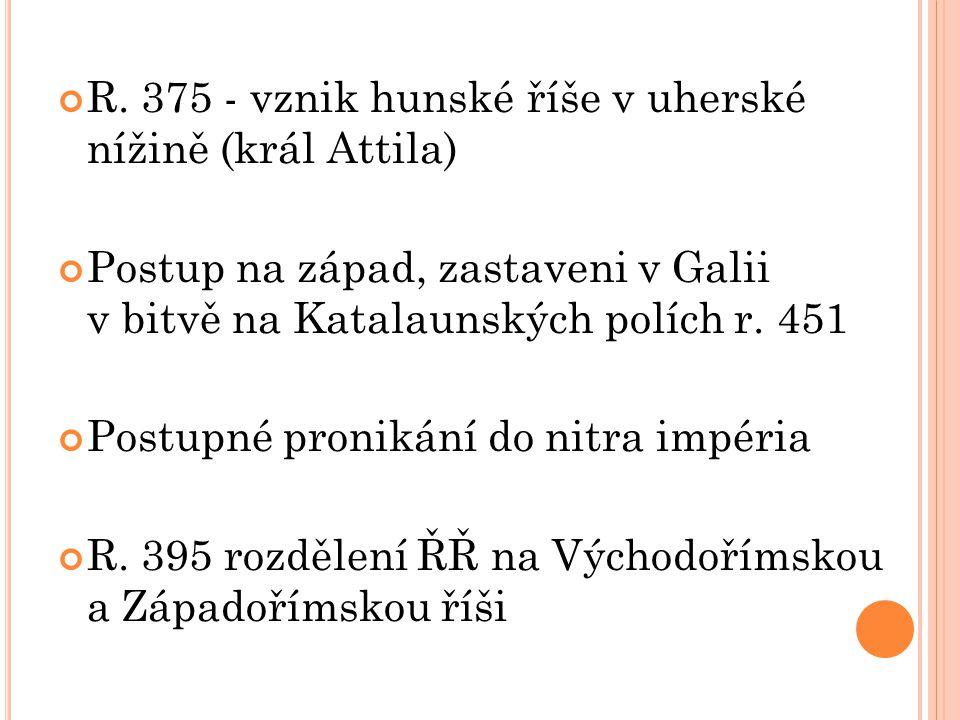 R. 375 - vznik hunské říše v uherské nížině (král Attila)
