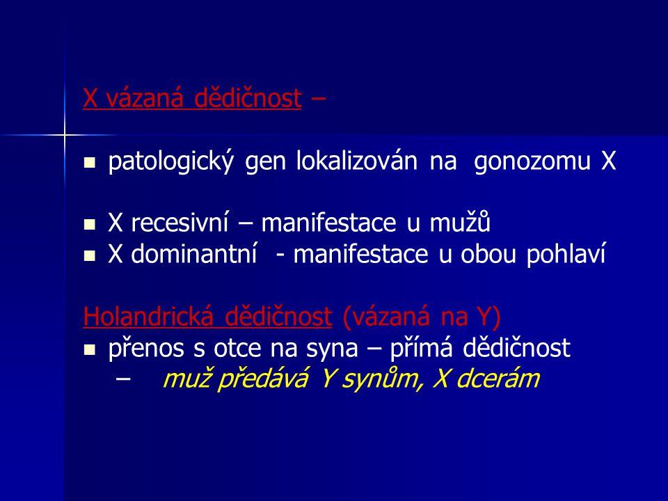 X vázaná dědičnost – patologický gen lokalizován na gonozomu X. X recesivní – manifestace u mužů.