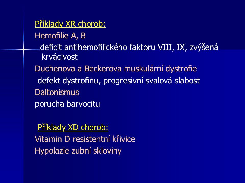 Příklady XR chorob: Hemofilie A, B. deficit antihemofilického faktoru VIII, IX, zvýšená krvácivost.