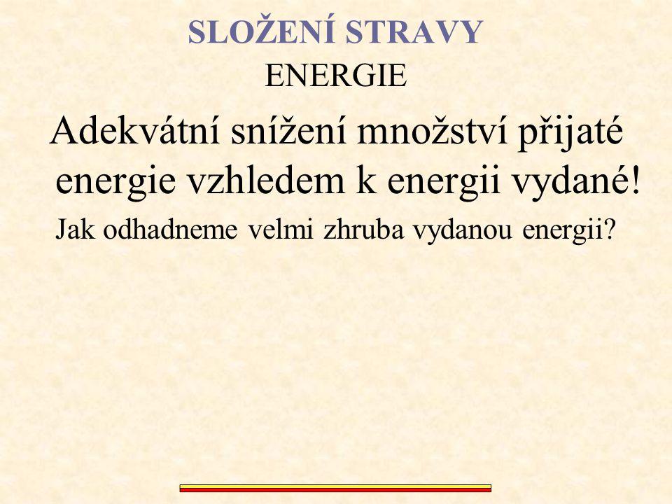 Adekvátní snížení množství přijaté energie vzhledem k energii vydané!