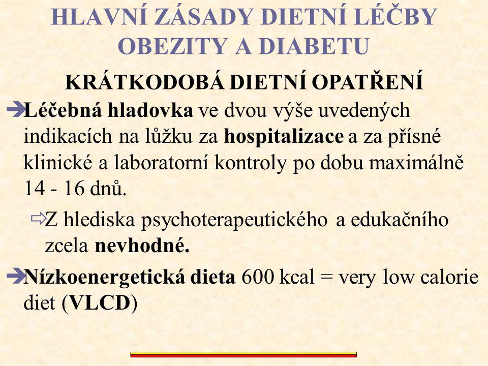 HLAVNÍ ZÁSADY DIETNÍ LÉČBY OBEZITY A DIABETU