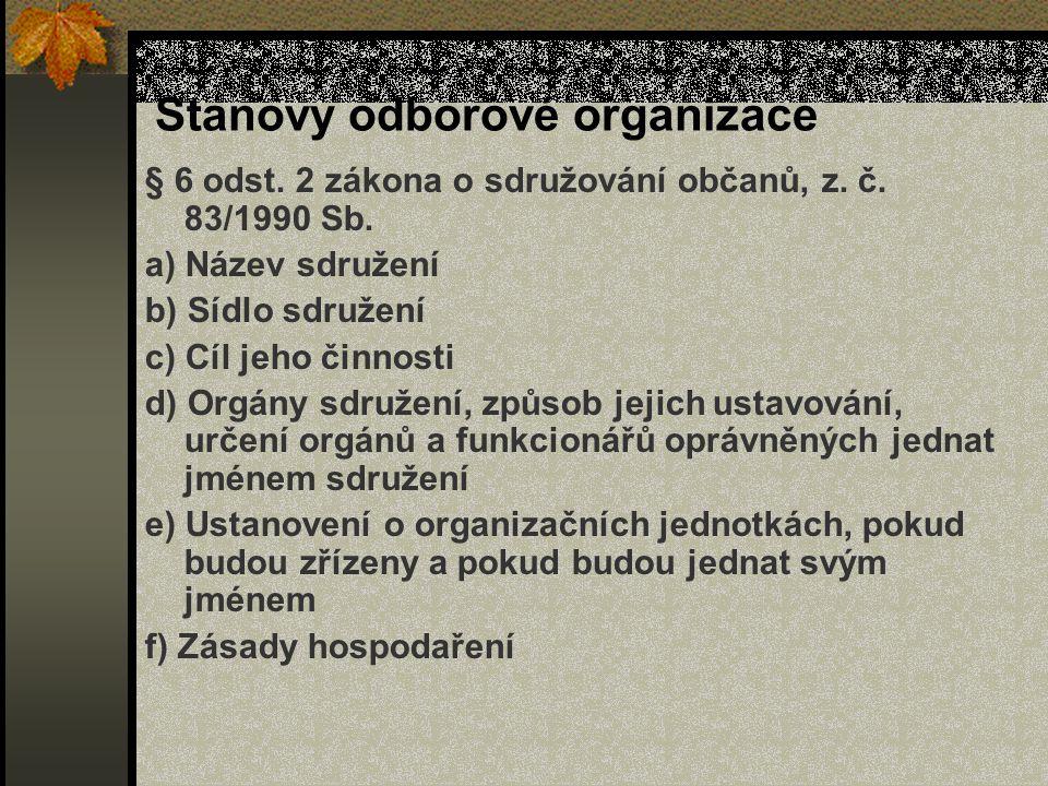 Stanovy odborové organizace