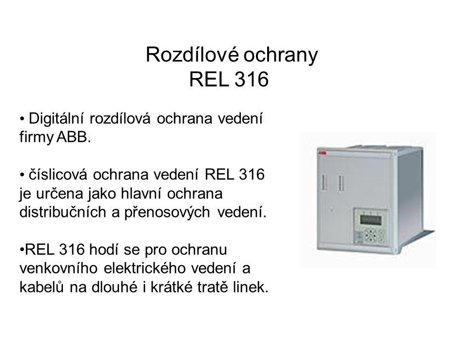 Rozdílové ochrany REL 316. Digitální rozdílová ochrana vedení firmy ABB.