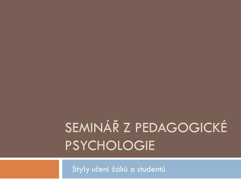 Seminář z pedagogické psychologie