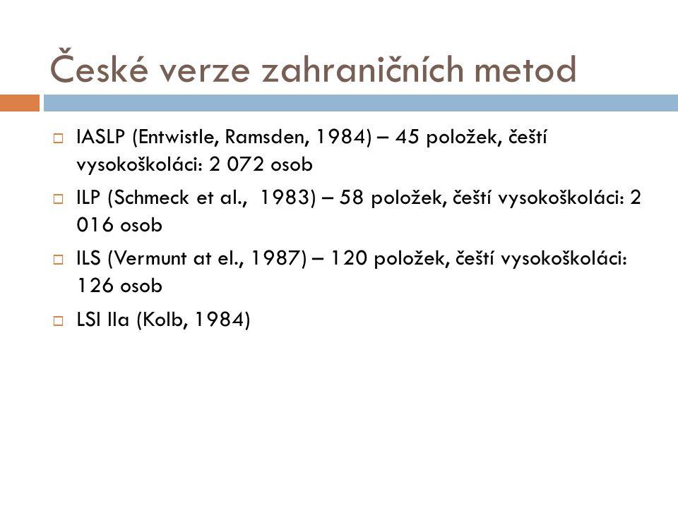 České verze zahraničních metod