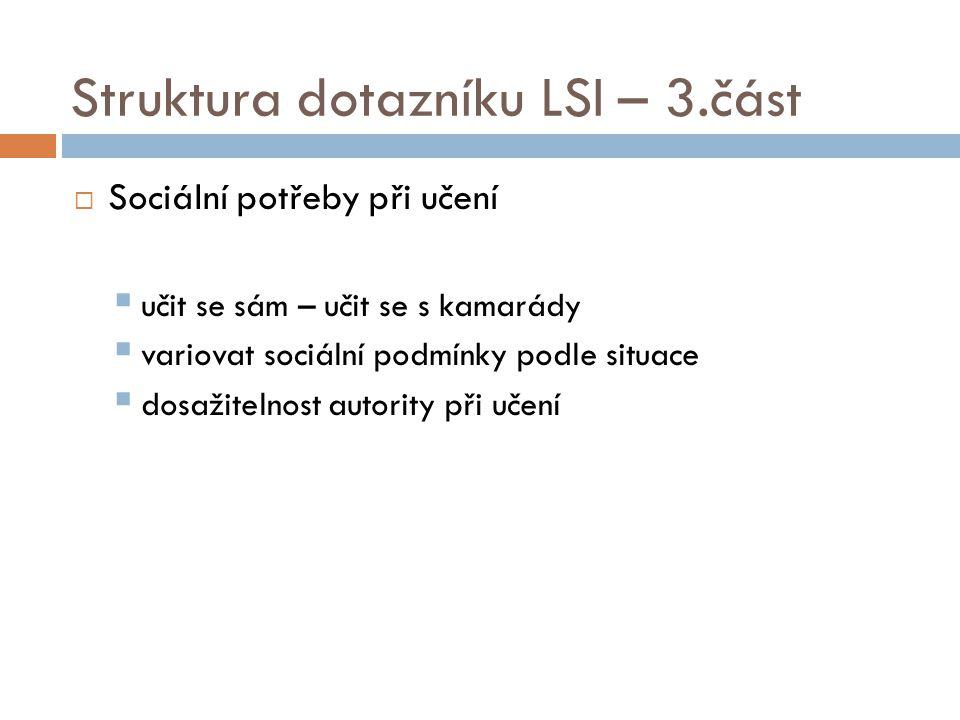 Struktura dotazníku LSI – 3.část