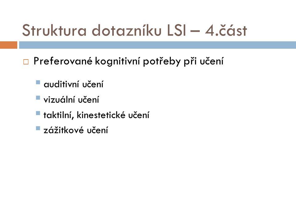 Struktura dotazníku LSI – 4.část