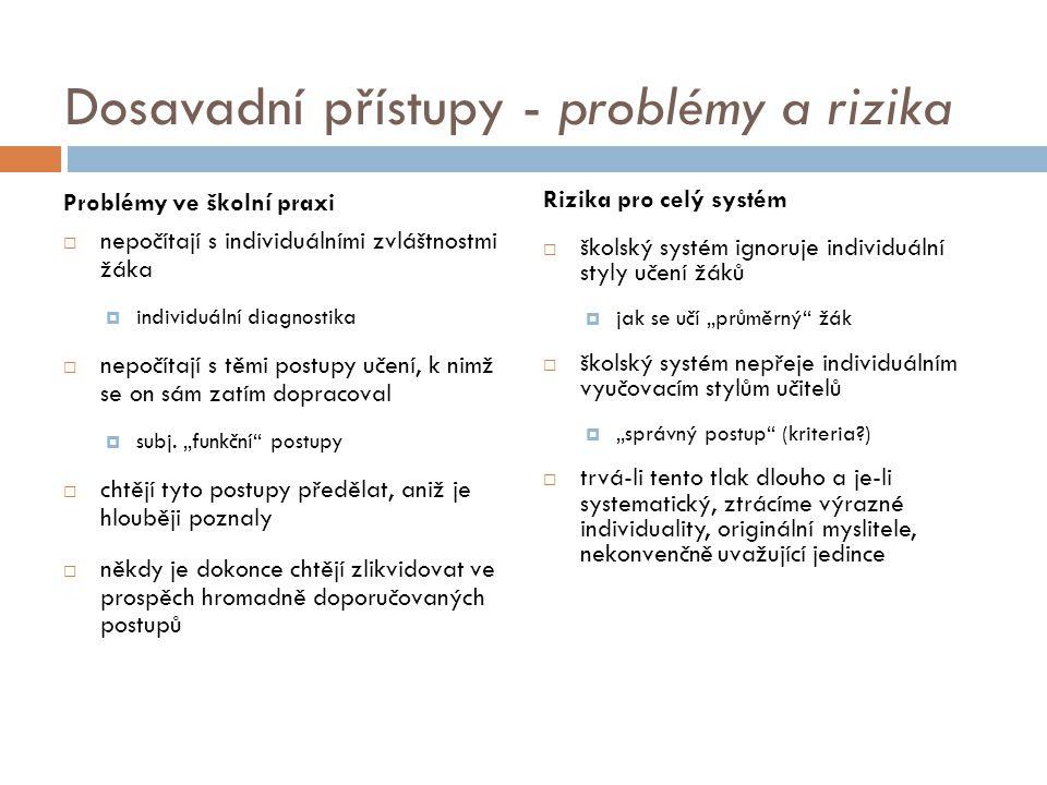 Dosavadní přístupy - problémy a rizika