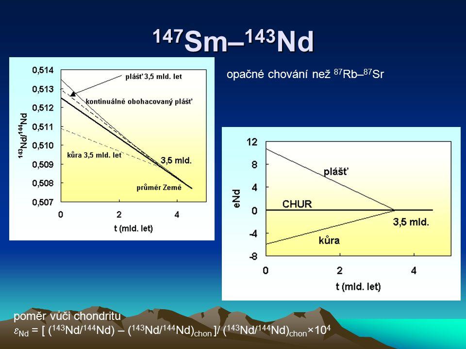 147Sm–143Nd opačné chování než 87Rb–87Sr poměr vůči chondritu