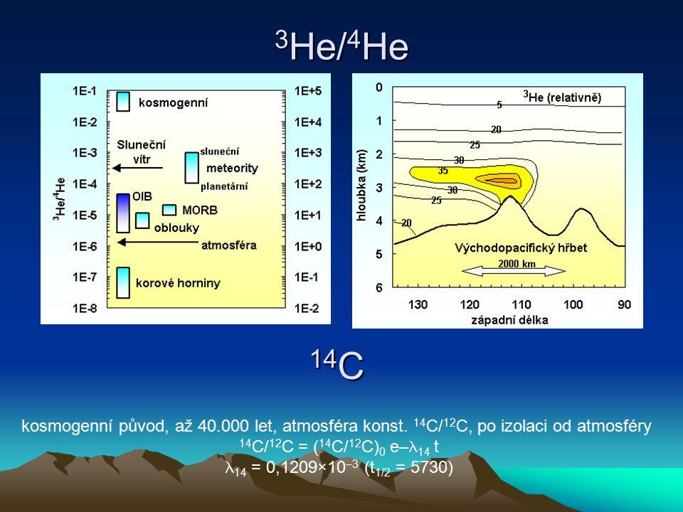 3He/4He 14C. kosmogenní původ, až 40.000 let, atmosféra konst. 14C/12C, po izolaci od atmosféry. 14C/12C = (14C/12C)0 e–14 t.
