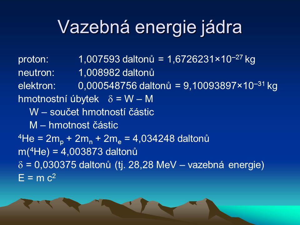 Vazebná energie jádra proton: 1,007593 daltonů = 1,6726231×10–27 kg