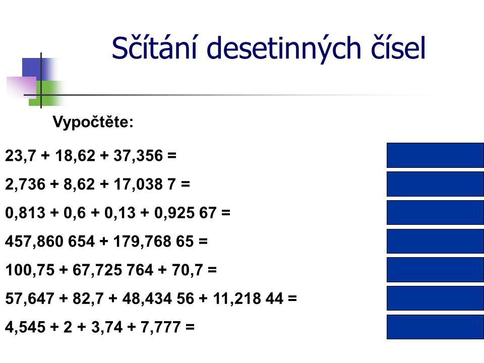 Sčítání desetinných čísel