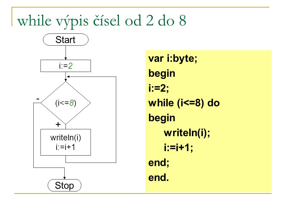 while výpis čísel od 2 do 8 var i:byte; begin i:=2; while (i<=8) do