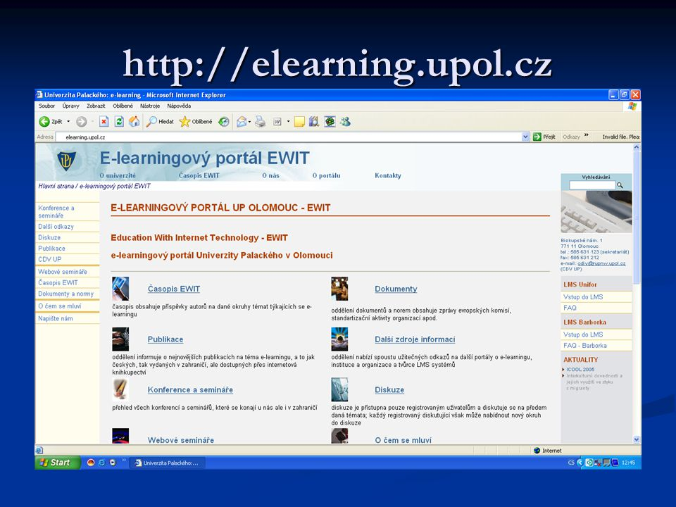 http://elearning.upol.cz