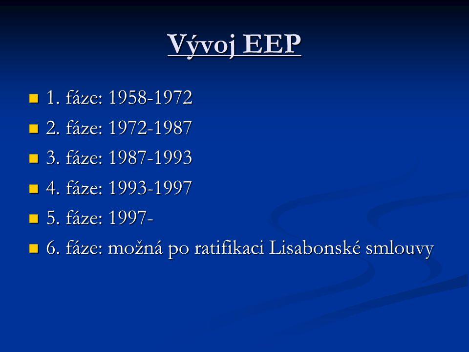 Vývoj EEP 1. fáze: 1958-1972 2. fáze: 1972-1987 3. fáze: 1987-1993