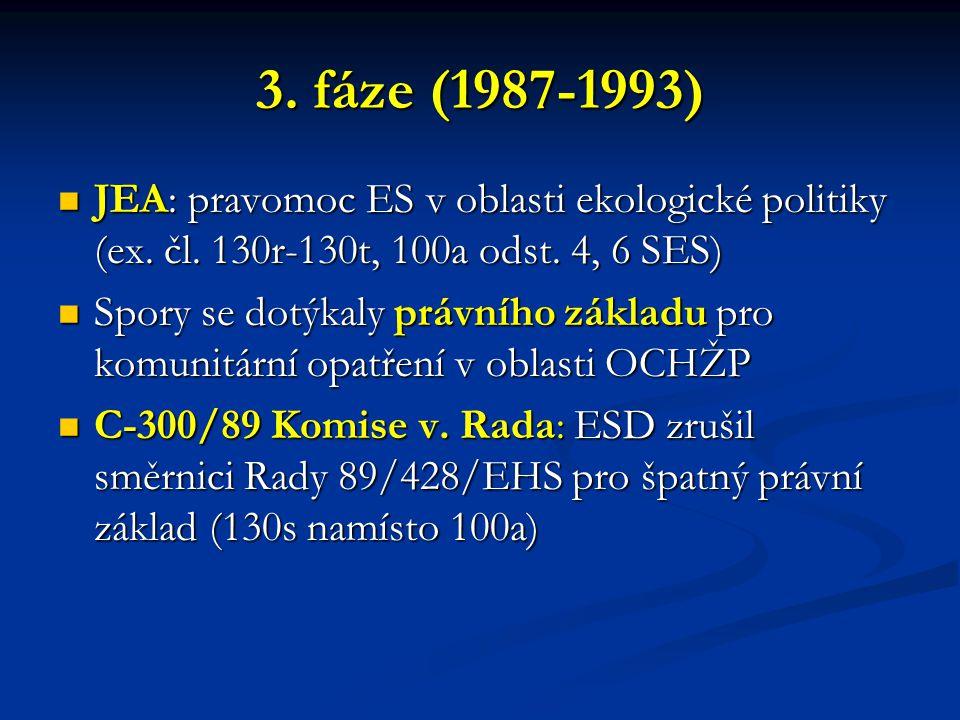 3. fáze (1987-1993) JEA: pravomoc ES v oblasti ekologické politiky (ex. čl. 130r-130t, 100a odst. 4, 6 SES)