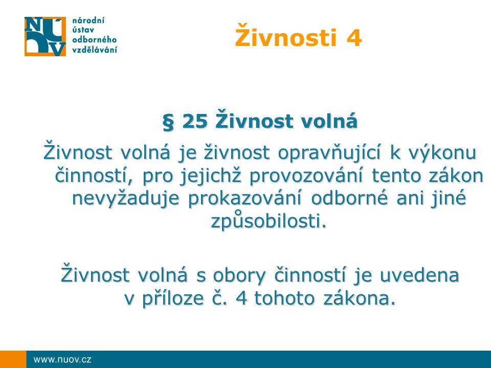 Živnosti 4 § 25 Živnost volná