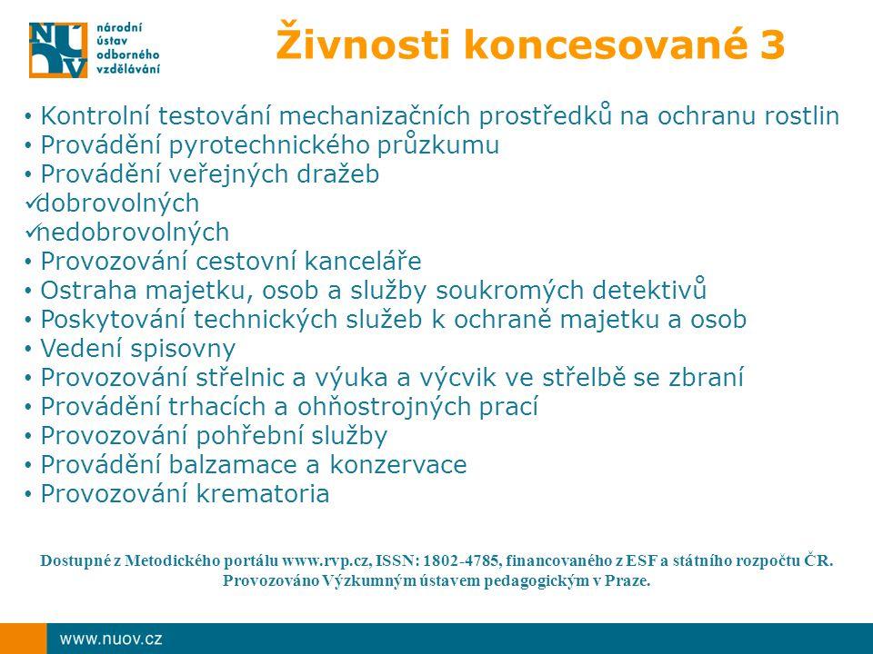 Živnosti koncesované 3 Kontrolní testování mechanizačních prostředků na ochranu rostlin. Provádění pyrotechnického průzkumu.