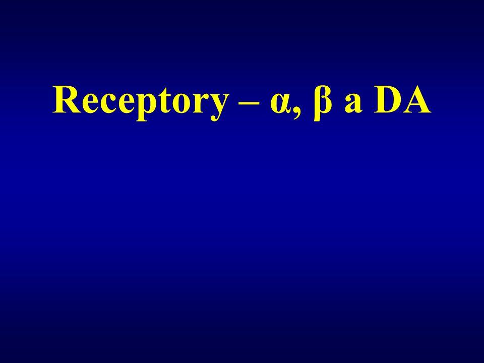 Receptory – α, β a DA