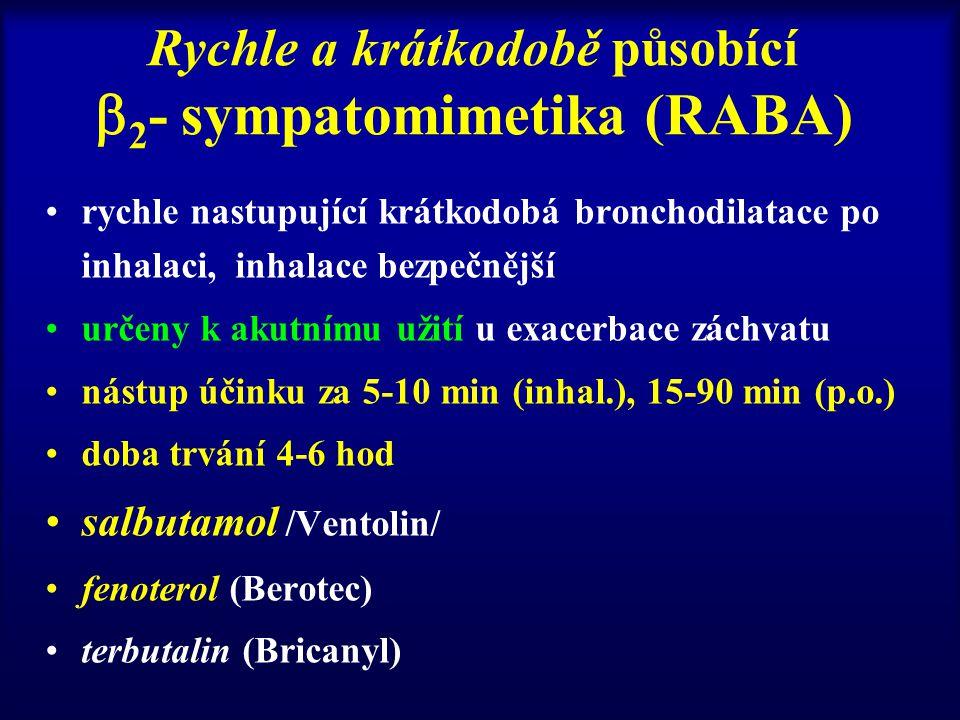 Rychle a krátkodobě působící 2- sympatomimetika (RABA)