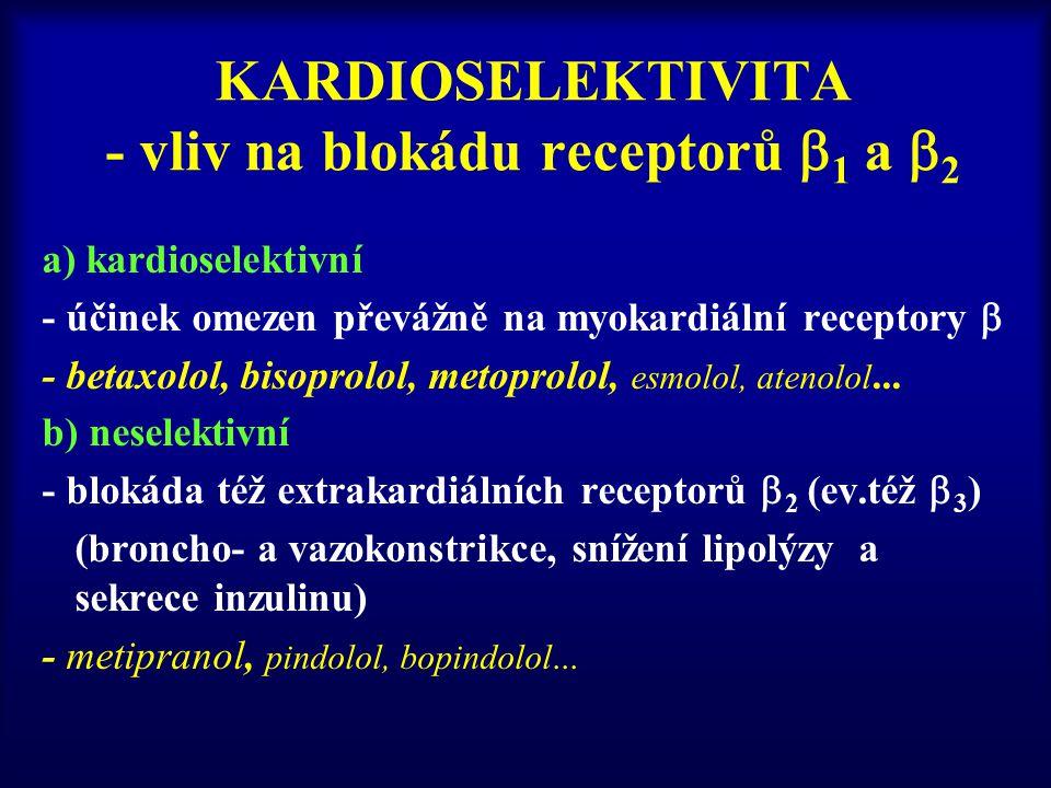 KARDIOSELEKTIVITA - vliv na blokádu receptorů 1 a 2