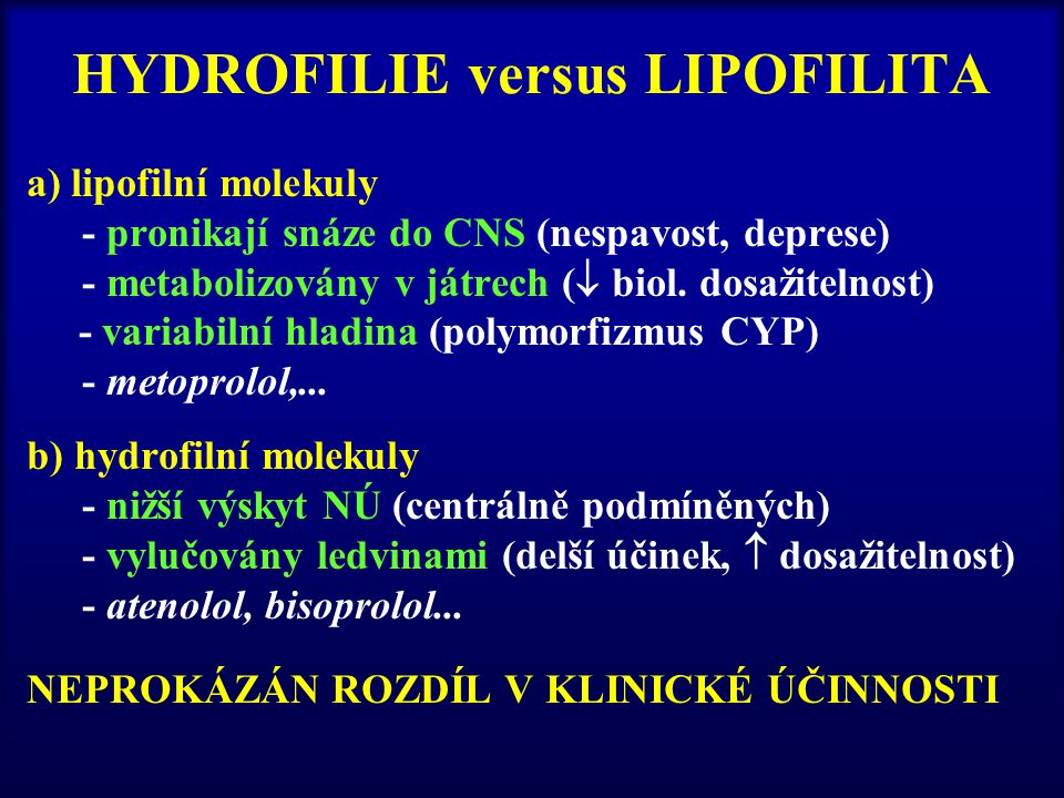 HYDROFILIE versus LIPOFILITA