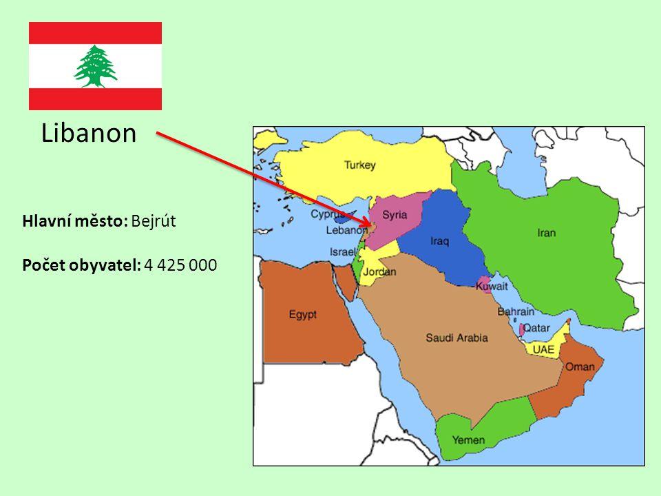 Libanon Hlavní město: Bejrút Počet obyvatel: 4 425 000