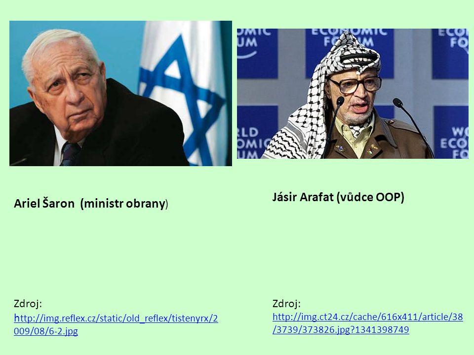 Jásir Arafat (vůdce OOP) Ariel Šaron (ministr obrany)