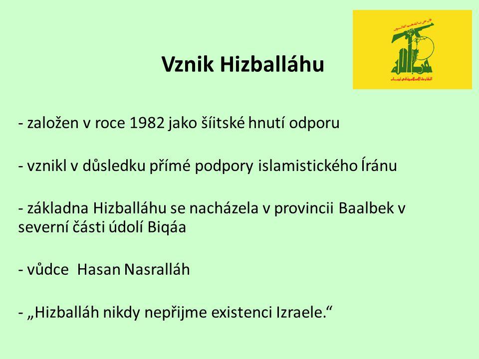 Vznik Hizballáhu - založen v roce 1982 jako šíitské hnutí odporu