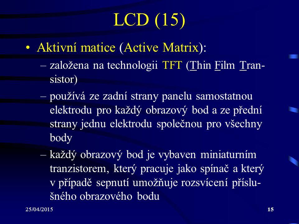 LCD (15) Aktivní matice (Active Matrix):