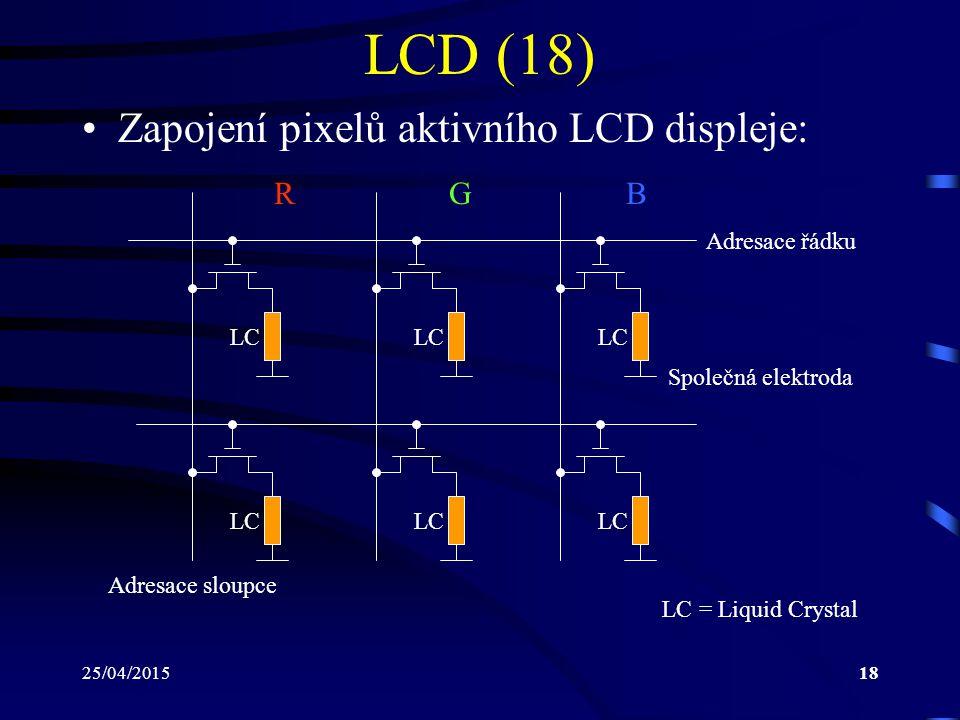 LCD (18) Zapojení pixelů aktivního LCD displeje: R G B Adresace řádku
