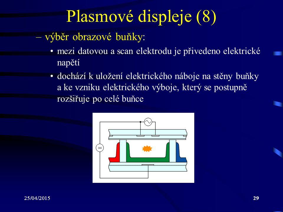 Plasmové displeje (8) výběr obrazové buňky: