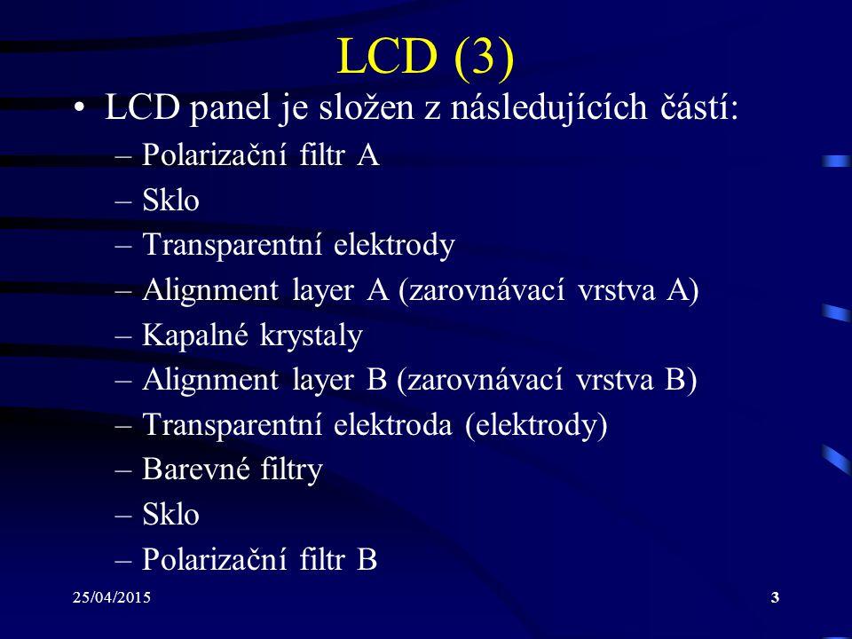 LCD (3) LCD panel je složen z následujících částí: Polarizační filtr A