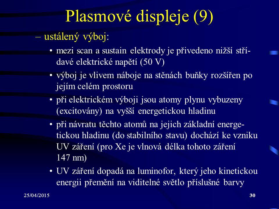 Plasmové displeje (9) ustálený výboj: