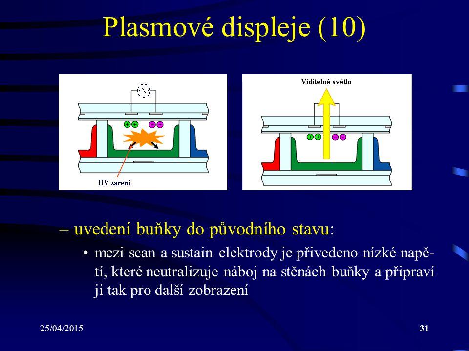 Plasmové displeje (10) uvedení buňky do původního stavu: