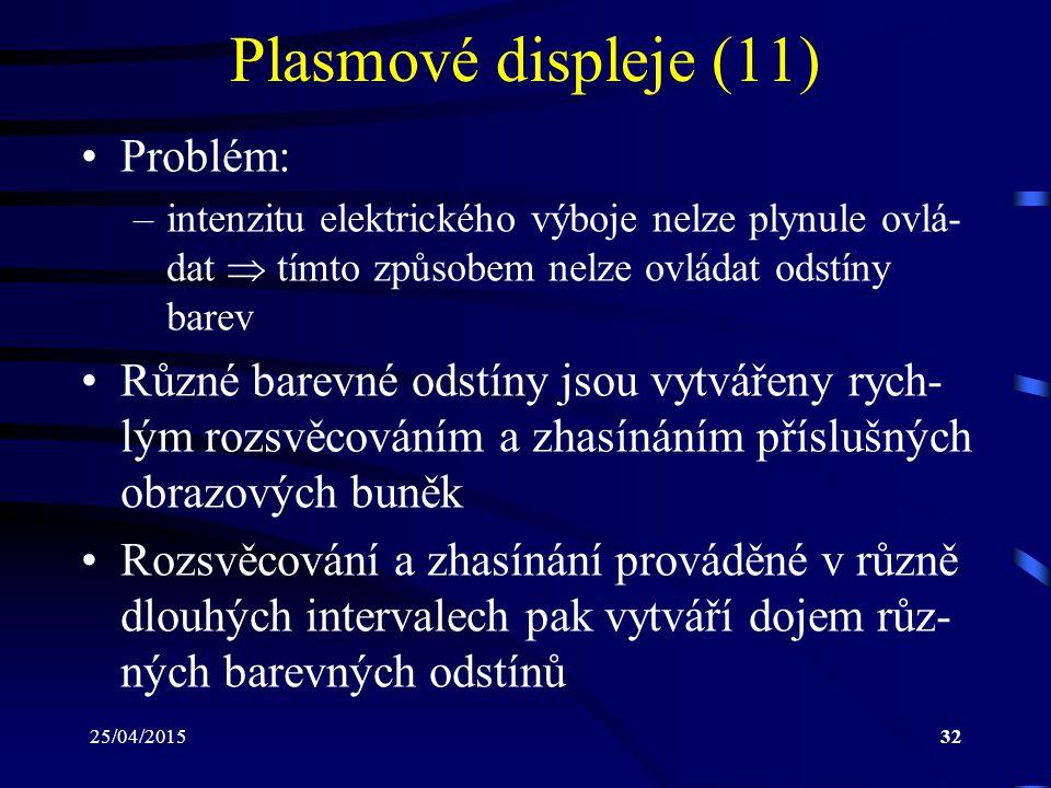 Plasmové displeje (11) Problém: