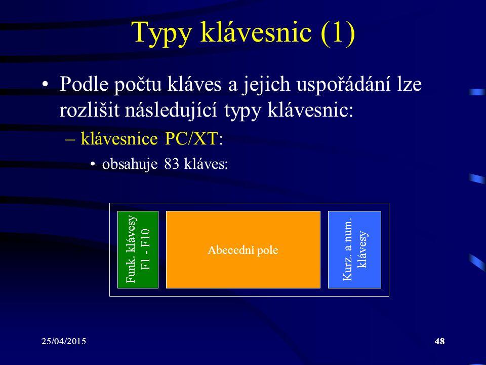 Typy klávesnic (1) Podle počtu kláves a jejich uspořádání lze rozlišit následující typy klávesnic: klávesnice PC/XT: