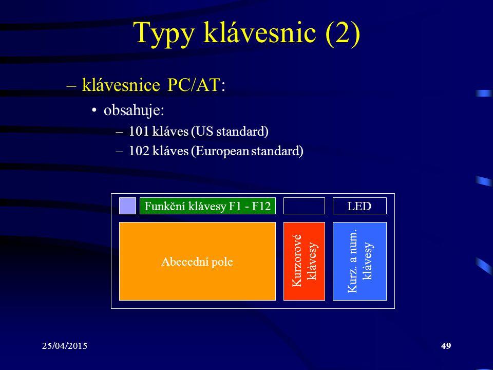 Typy klávesnic (2) klávesnice PC/AT: obsahuje: